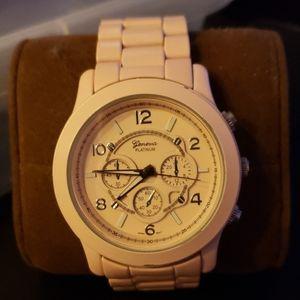 Geneva pink enameled watch